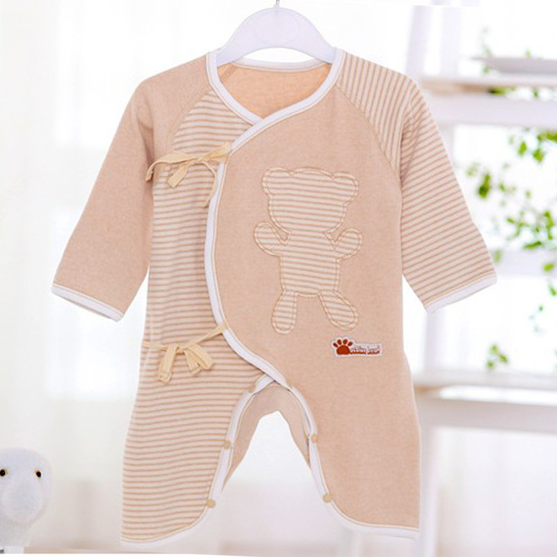 Natural Colored Cotton Baby Clothes Spring And Autumn Top Fly Lace Can Open Files Onesie Long Sleeve Versatile BABY'S Romper