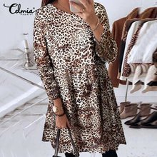 Celmia Oversized Mode Luipaard Print Mini Jurk Sexy Vrouwen Vintage Zomer V-hals Casual Loose Zonnejurk Dames Party Vestido(China)