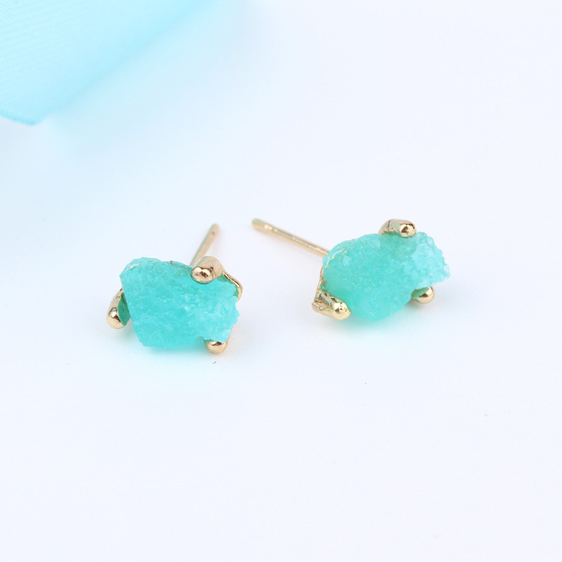 Simple Little Cute Bijoux Female Piercing Earrings For Women Jewelry Trendy Irregular Druzy Resin Small Stud Earrings Gift J101