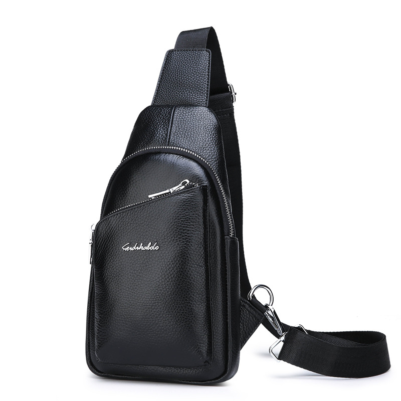 2019 New Style MEN'S Real-leather Bag Casual Chest Pack Men's Korean-style Backpack Full-grain Leather Oblique Bag