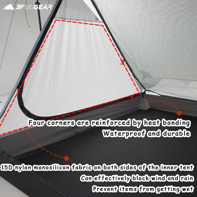 3F ul dişli Ultralight açık kamp 4 kişi 3 mevsim iç büyük çadır su geçirmez sırt çantası yürüyüş
