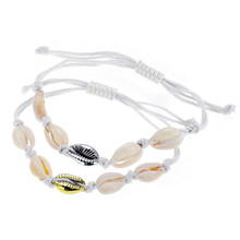 купить Fashion Bohemian Shell Charm Bracelets For Women Weave Rope Friendship Bracelet Adjustable Handmade Jewelry Best Gift дешево