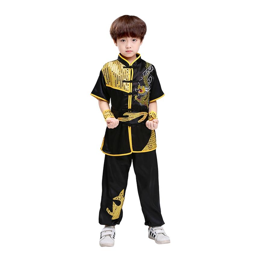 Crianças estilo tradicional chinês conjunto de roupas lantejoulas dragão bordado longo & curto desempenho tai chi kung fu uniformes