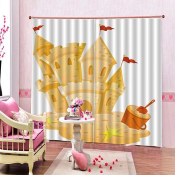 yellow boat curtains Customized size Luxury Blackout 3D Window Curtains For Living Room Drapes Cortinas