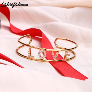Lateefah nazwa własna bransoletki bransoletki różowe złoto złoto bransoletka osobowość Hand Made biżuteria dla kobiet Lady biżuteria tanie i dobre opinie Kobiety Miedziane CN (pochodzenie) TRENDY moda Metal Zgodna ze wszystkimi Z wystającym oczkiem litera Powłoka platynowa