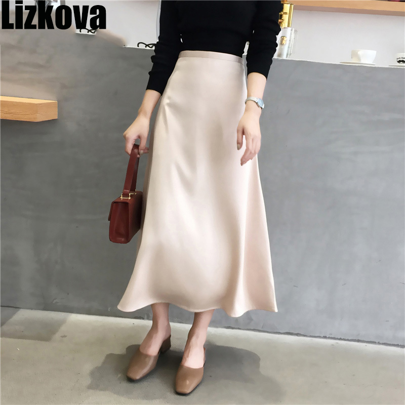 2020 Satin Skirt Women High Waist Midi Skirt Draped Style Spring Ladies Black Soft Skirt