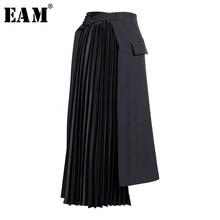 [EAM] taille haute noir asymétrique plissé tempérament demi-corps jupe femmes mode marée nouveau printemps automne 2021 19A-a779