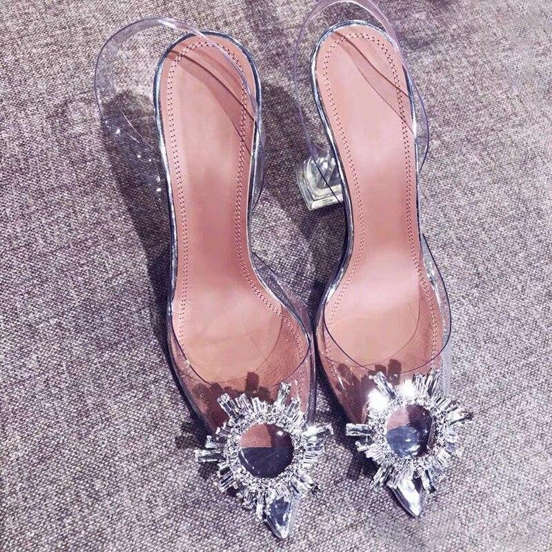 Rhinestone High Heels PVC Transparent Heels Women Pumps Sexy Metal Pointed Clear Heels Ladies Shoes Summer Sandals Plus Size 42