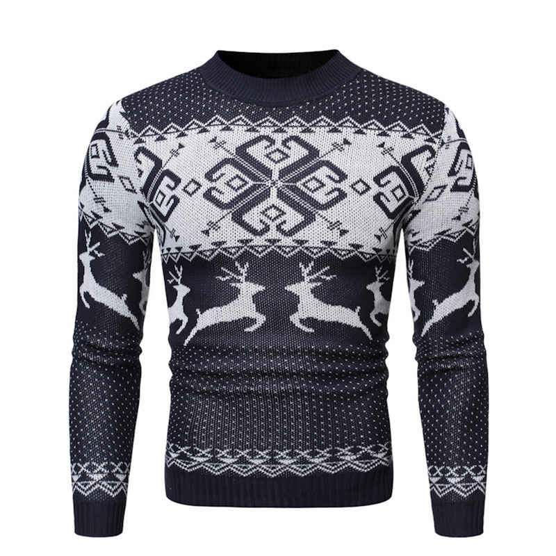 MJARTORIA Christmas Unisex Sweater Winter Deer Print Knitted Wool Pullover Casual Sweater For Men And Women Sweater Couple