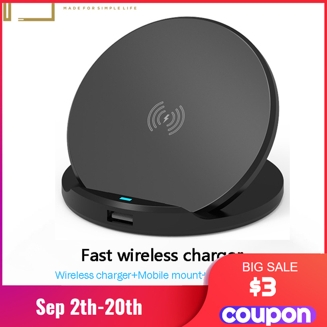 10w qi wireless fast charger with usb type c wireless charging pad with smartphone mount holder 3 in 1 wireless charger station