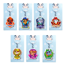7 pcs Paw patrol Acrylic Cute Cartoon Anime Keychain Key Ring Gift Child Bag Pendant Birthday Party Gifts 30Y