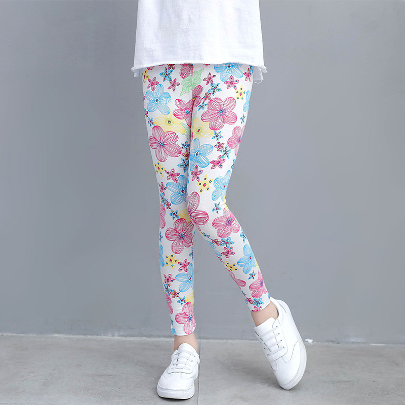Girls Leggings for Kids Rainbow Print Casual Floral Pencil Pants Cute Toddler Skinny Trousers Teenage Child 2 to 9 Years