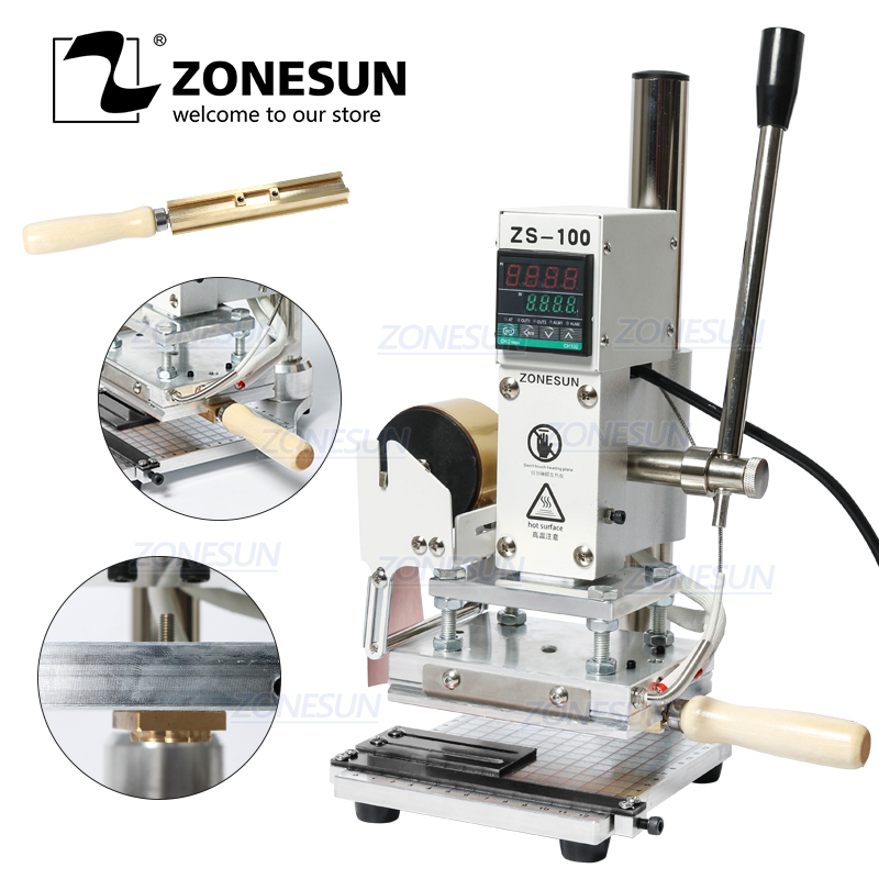 ZONESUN ZS 100, новая ручная машина для тиснения кожи, бумаги, дерева с измерительной линией, машина для горячего тиснения фольгой