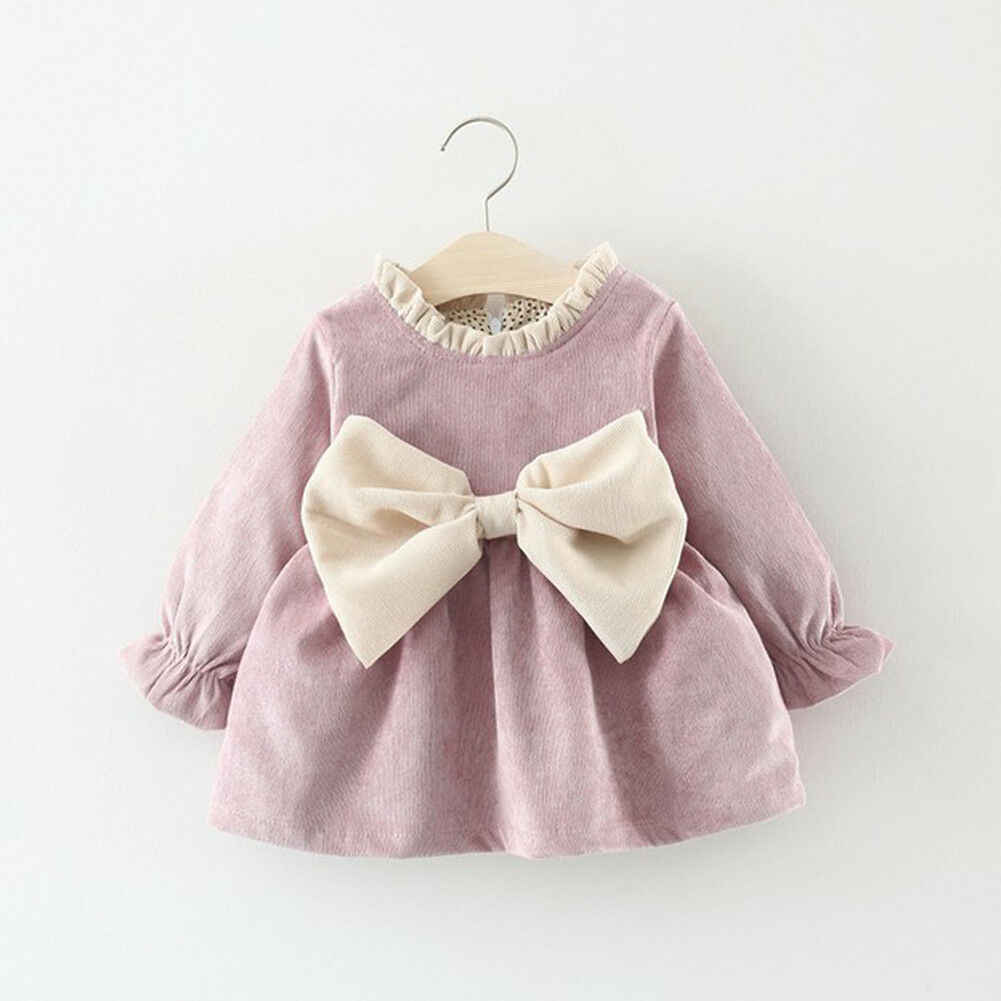 0-4Years Toddler Kid Baby Girls Autumn Winter Tutu Dress Princess Party Wedding Bowknot Dresses Long Sleeve Corduroy Dress