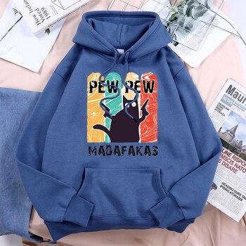 Pew Pew Cool Madafakas Black Cat Women Hoody 2021 Vintage Harajuku Hooded Hip Hop Fashion Streetwear Comfort Fleece Woman Hoodie 1