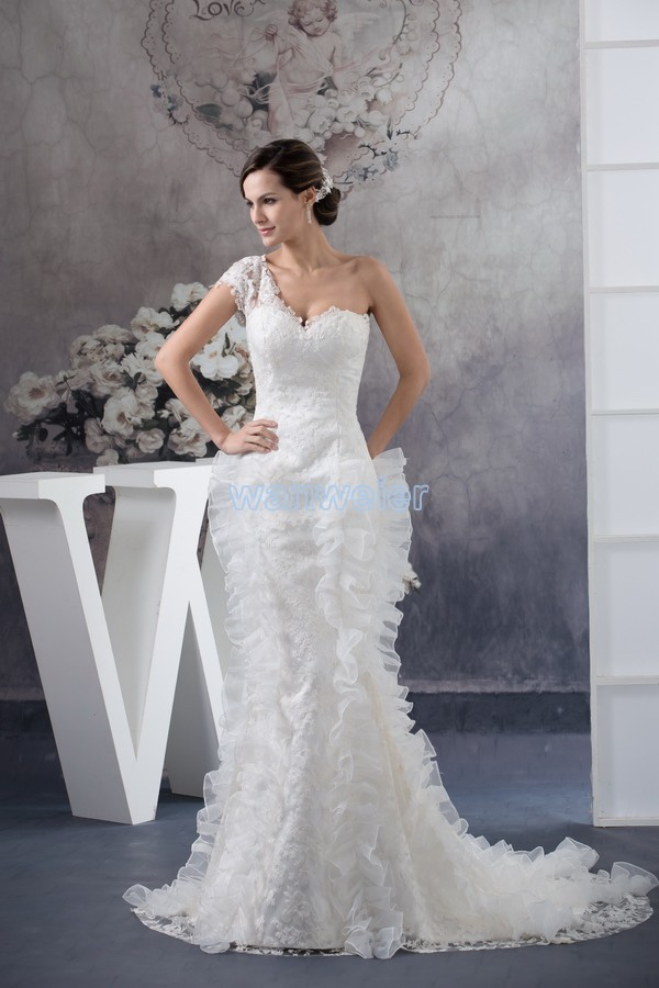 Free Shipping 2020 New Design One Shoulder Custom Size Bridal Gown Real Photo Plus Size Train White Mermaid Lace Wedding Dress