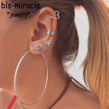 Bls-miracle 6 Pair/set Vintage Mixed Geometric Drop Earrings For Women 2019 Silver Heart Star Circle Earring Set Female Jewelry