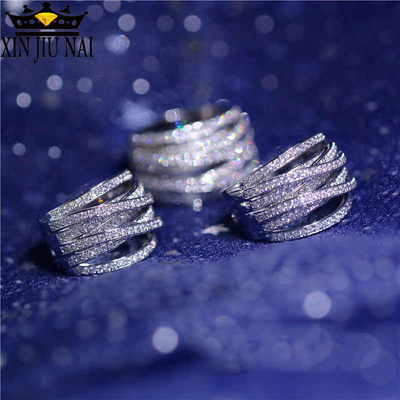 925 Anillos Silver Rose Gold Fashion Banquet Exaggerated Lady Ring Multilayer Retro Silver Cross Zirconia Micro Wedding Bride