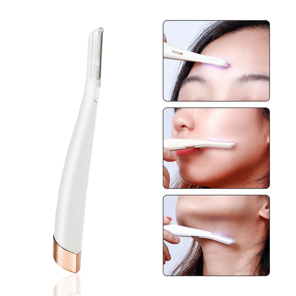 Face Hair Remover Lighted Facial Expoliator Electric Shaver Razor Face Hair Shaver Painless Exfoliates Dead Skin Neck Clean Tool