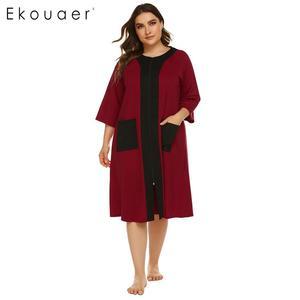 Image 2 - Ekouaer, camisón de talla grande para mujer, bata de media manga con cremallera y bolsillos, ropa de descanso, vestido de noche para señora, camisón, ropa de dormir, XL 5XL