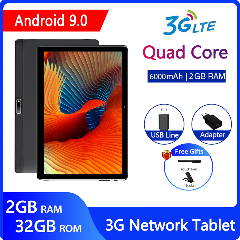 ZONKO Tablet PC Android 9.0 10 Inch 3G Phone Call Tablet WiFi GPS Tablets Quad Core 2GB RAM 32GB ROM 1280*800 Google Play