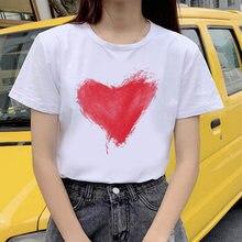 90s Графический рок футболки женские красное сердце футболка