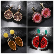 Simple Personality Design Fruit Earrings Ladies Delicate Carrot Lemon Watermelon Classic Color Alloy Серьги Jewelry