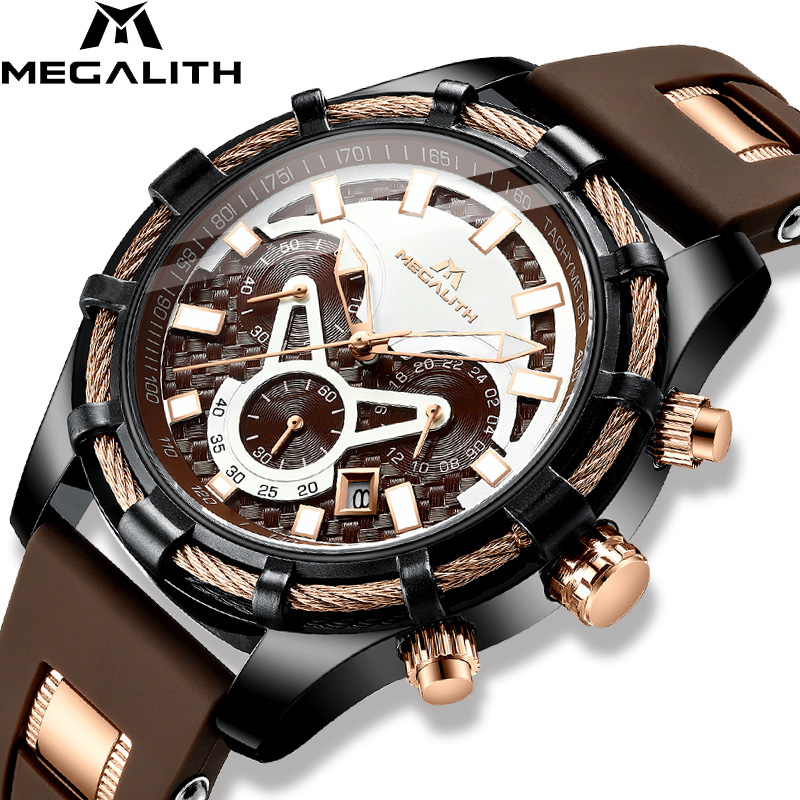 MEGALITH Mechanical Men Watches Male Sports Casual Fashion Rubber Gym Wrist Watch Waterproof Clock Brown Montre Hombre 8042