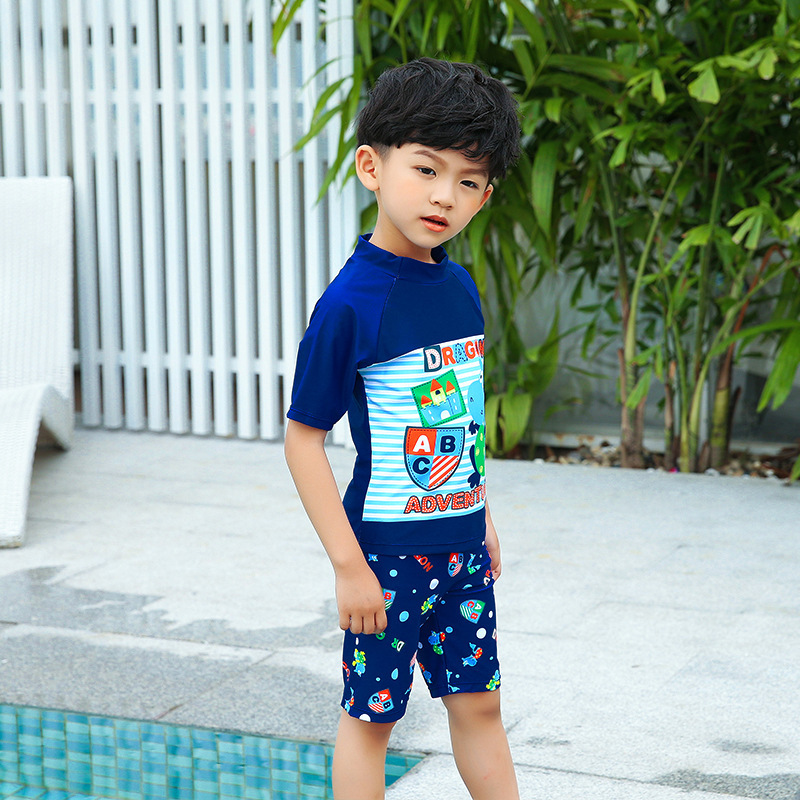 New Style Korean-style Children Sun-resistant Bathing Suit Dinosaur Three-piece Set Capping Swimming Suit Beach Hot Springs Play