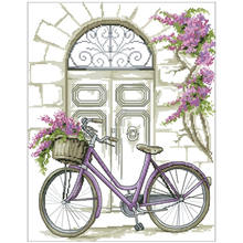 Bicycle in front of the door counted cross stitch 11ct 14ct