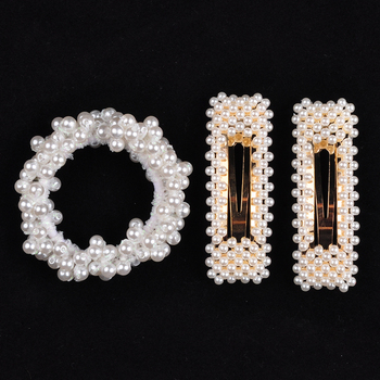 14 Colors Woman Elegant Pearl Hair Ties Beads Girls Scrunchies Rubber Bands Ponytail Holders Hair Accessories Elastic Hair Band 28