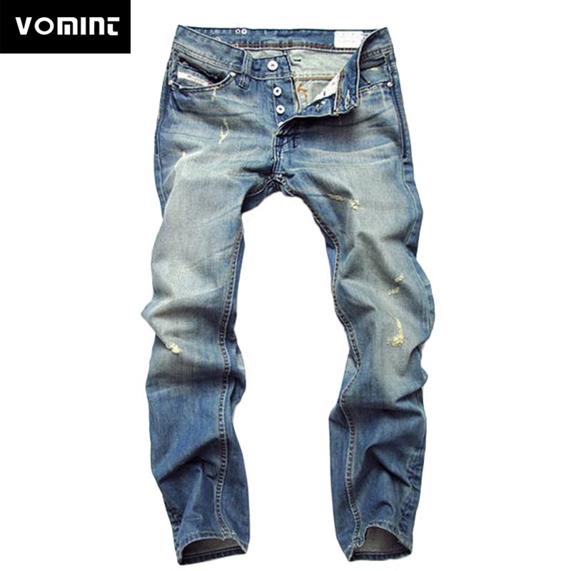 VOMINT New Style Foreign Straight Jeans Fashion Solid Cotton And Polyester Vintage Men Long Jeans Slim Straight Large Size 29-42