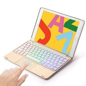 7 цветов светодиодный алюминиевый беспроводной Bluetooth трекпад русская клавиатура чехол для iPad 9,7 2017 2018/Pro 9,7/Air 1 & 2