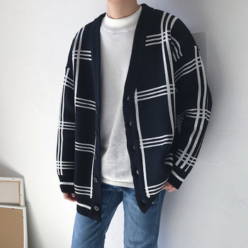 Winter Thick Cardigan Men's Warm Fashion Retro Casual V-neck Knit Sweater Jacket Man Streetwear Wild Loose Plaid Sweater Male