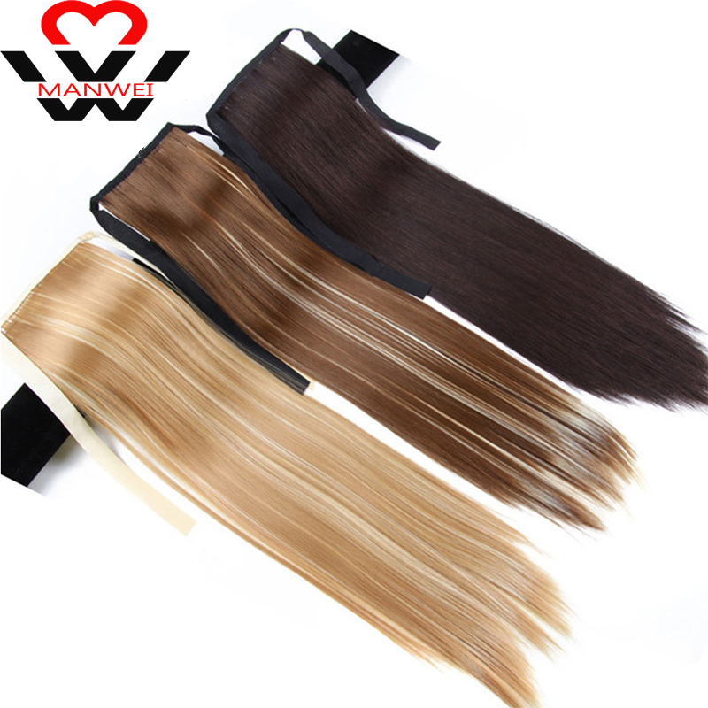 Synthetic Pony Tail Heat Resistant Fake Hair Extensions Hair 22'' Long Straight Ponytails Clip In Ponytail Drawstring