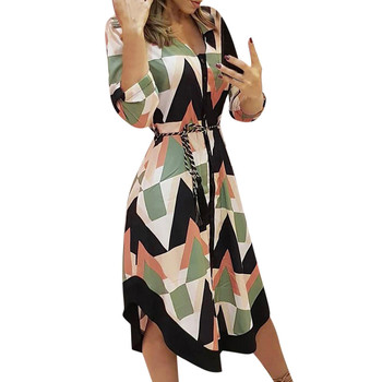 2021 Fashion Women Holiday Style Feminino Print Casual Plus Size Ladies Dress Elegant Day Dress Summer Sexy V-Neck Knitwear Robe 2