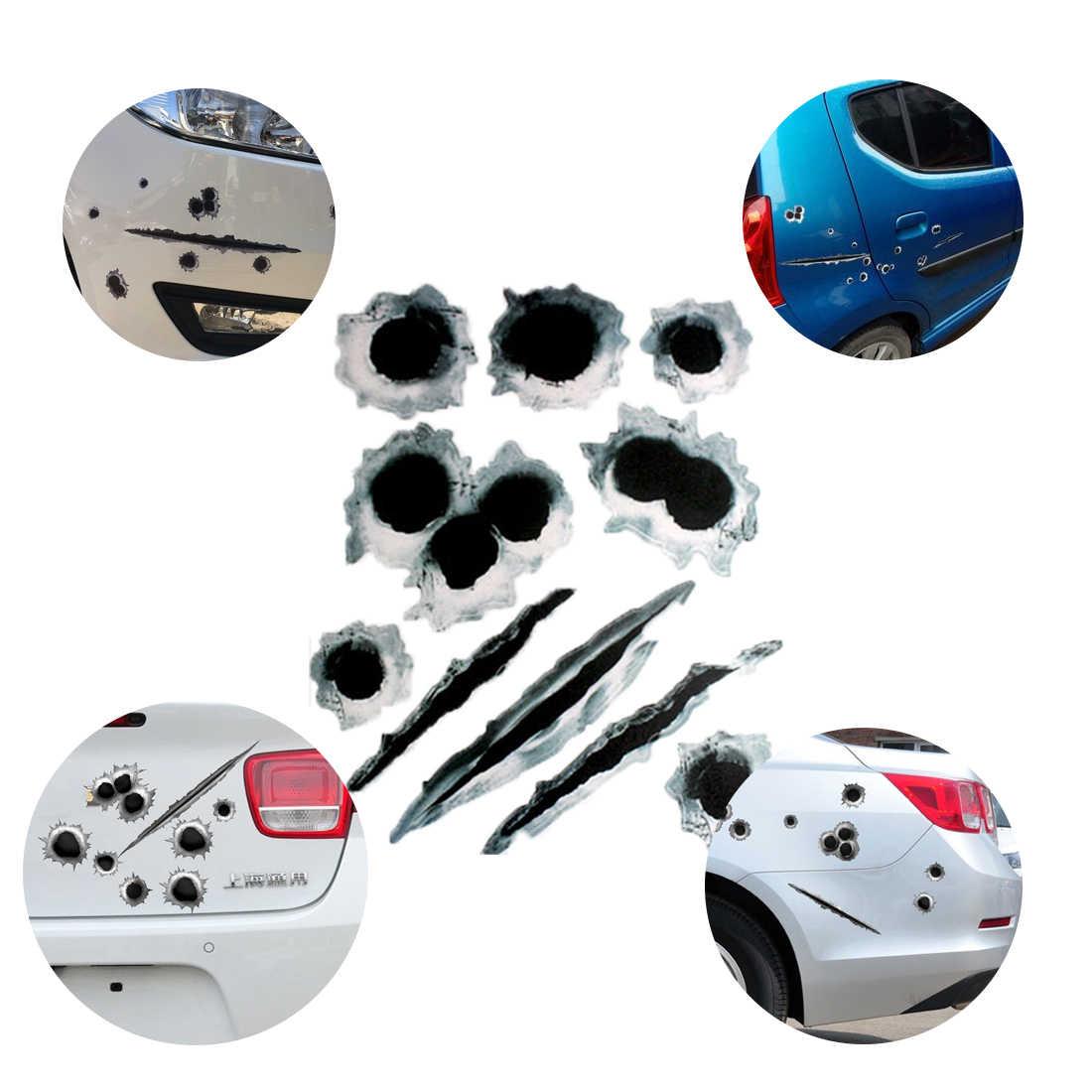 Dewtreetali 3D 偽弾痕銃ショットおかしい車のヘルメットのステッカーデカールシンボルクリエイティブパーソナライズステッカー