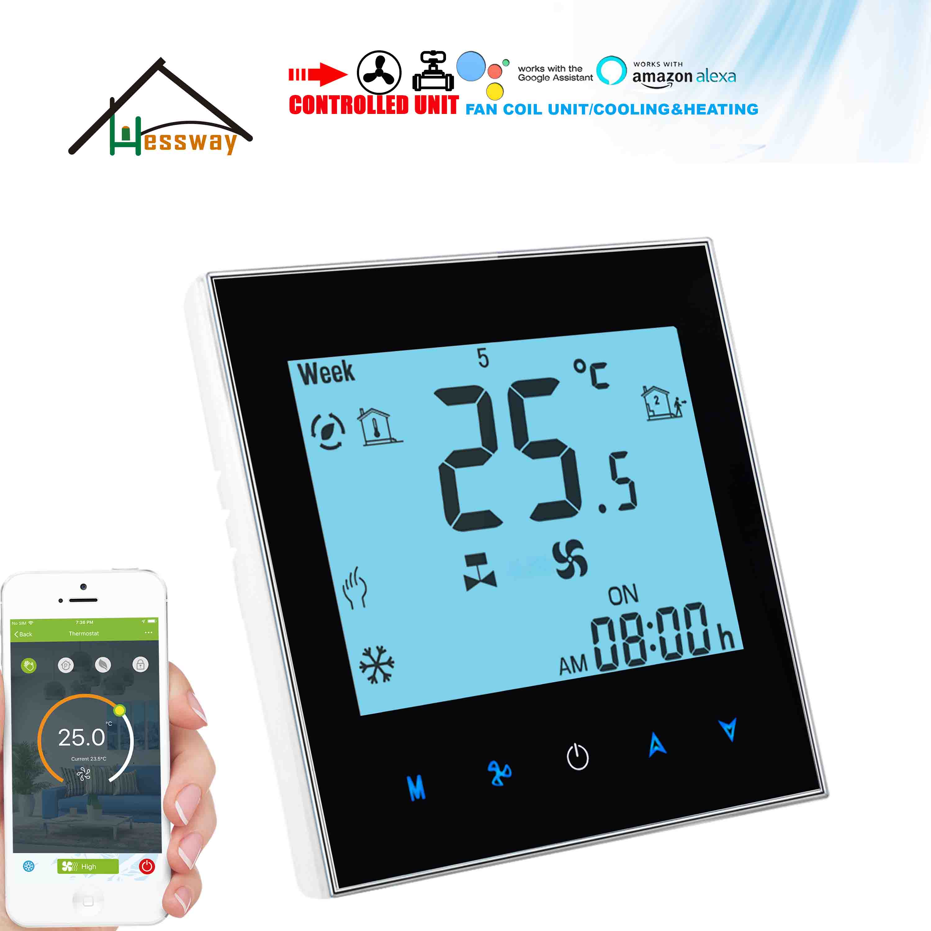 HESSWAY Heat Cool Temp Rs485 Modbus 0-10V WIFI THERMOSTAT For Programable Thermostatic Valve&fan