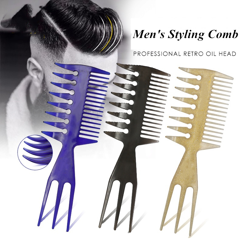 1PC Retro Oil Head Fork Back Two Comb Hairdressing Plastic Comb Men's Styling Flat Wide Tooth Barber G0417