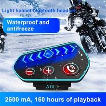 Oreillette Bluetooth pour Moto, appareil de communication pour casque, kit mains libres résistant à leau, BT, stéréo, récepteur de musique MP3, 2600Mah
