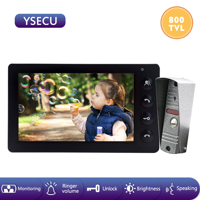 YSECU 7''Wired Video Doorbell Intercom System Video Camera Color LCD Indoor Monitor Unlock Talking Video Door Built-in Power