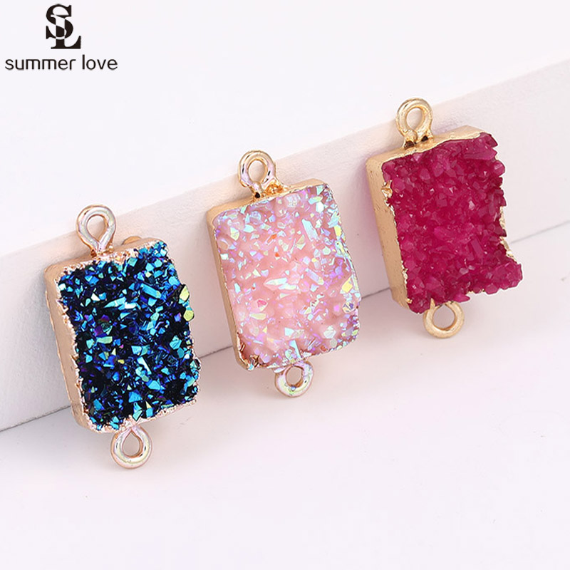 10PCS Wholesale Colorful Square Resin Stone Druzy Connector Charms For Bracelet Necklace Making Diy Jewelry Findings Accessories