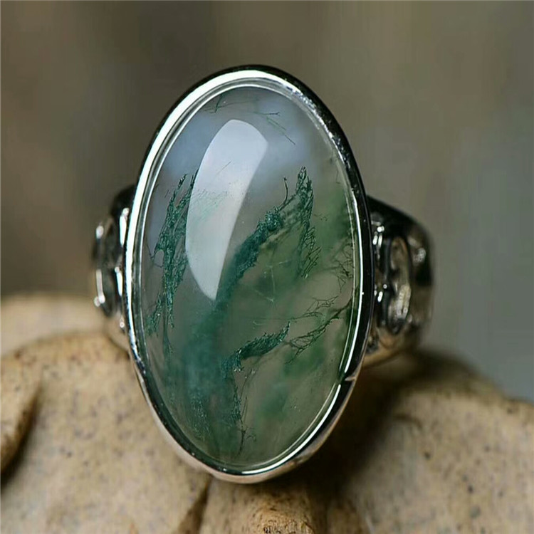 100% Real Green Jade Ring Ocean Water Agate Rings Resizable Emerald Ring 925 Sterling Silver Ring Women Rings Jade Jewelry