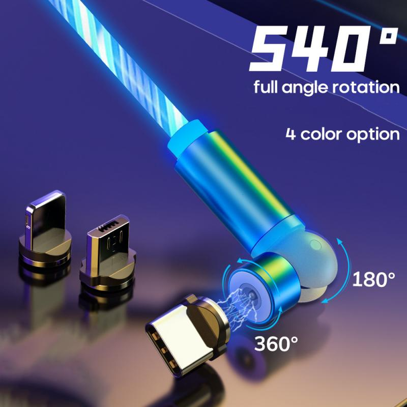 1m Magnetic Charging Mobile Phone Cable USB Type C Flow Luminous Lighting Data Wire For Samsung Huawei Xiaomi LED Micro Kable 5