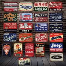 [ DecorMan ] Diamond TIRES ESSO TIN SIGN Custom Marina Motor oil Stickers Paintings Bar PUB Decor LT-1869