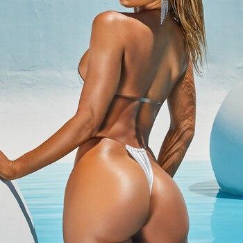 Sexy Micro Bikini 2020 Swimsuit Women Swimwear Solid Thong Mini Bikini Set Brazilian Bathing Suit Female Beach Wear New Bathers 1