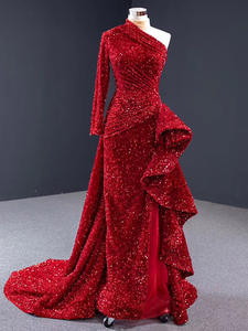 Jancember Evening-Dress Mermaid Long-Sleeve Party One-Shoulder with Suqined Red Vestidos