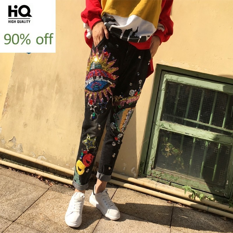 Sequined Loose Bottoms Jeans For Women Trousers Casual Harem Denim Pants Female Embroidered Diamond Beading Pattern Pencil Pants