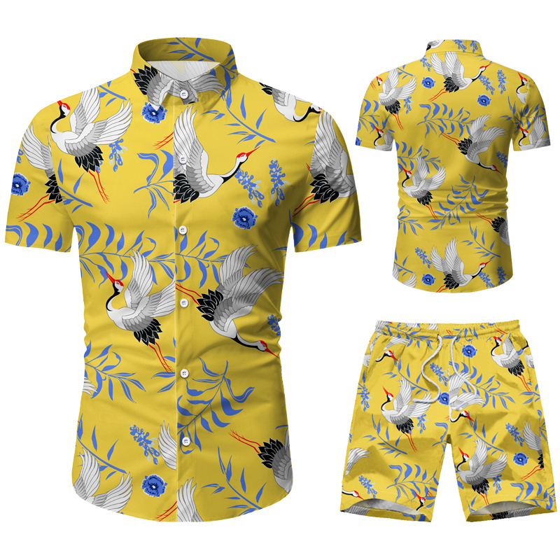 Fashion Men Clothes Set Summer Flower Tshirt Men Slim Fit Casual Shirt Men Cotton Short Sleeve T-shirt Sportwaer Tracksuit 3XL