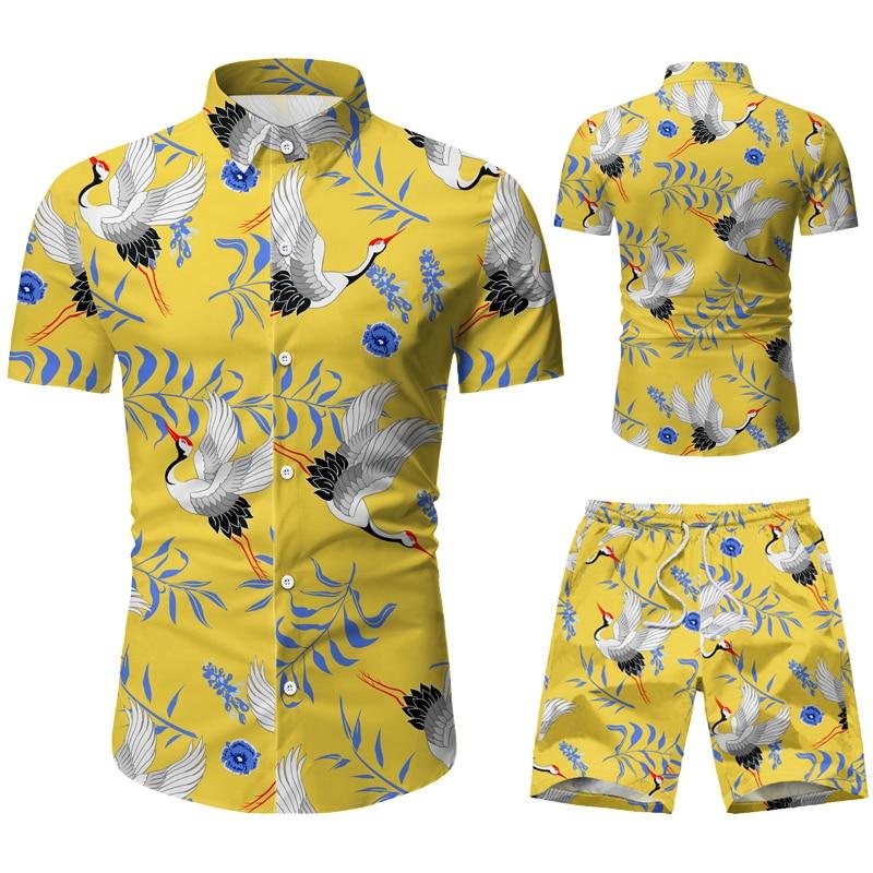 Fashion Men Clothes Set Summer Flower Tshirt Men Slim Fit Casual Shirt Men Cotton Short Sleeve T-shirt Sportwaer Tracksuit 3XL